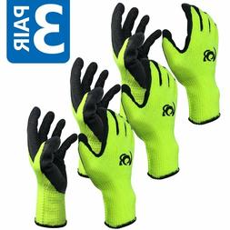 3 Pairs Work Gloves Cotton Textured Rubber Latex Coated for