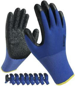 Coated Work Gloves Latex Home Garden Construction 8-Pack Sma
