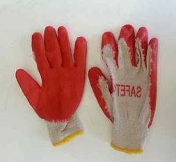 Work Gloves, Pairs Red Latex Rubber Palm Coated,  Pack of 30