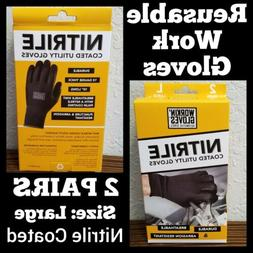 Workin' Glove Nitrile Coated Reusable Utility Gloves 2 PAIRS